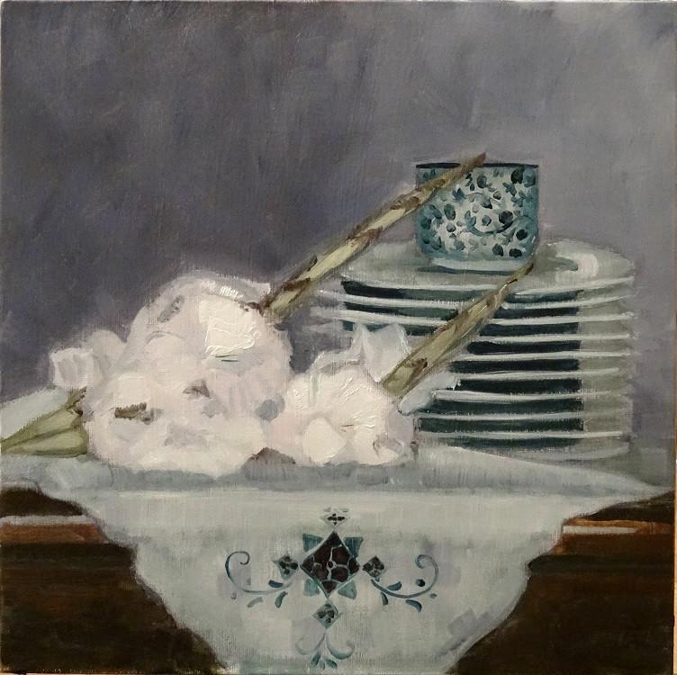 10/09/2014 : Blancs Glaïeuls et pile d'assiettes - Huile sur toile 30 x 30 cm