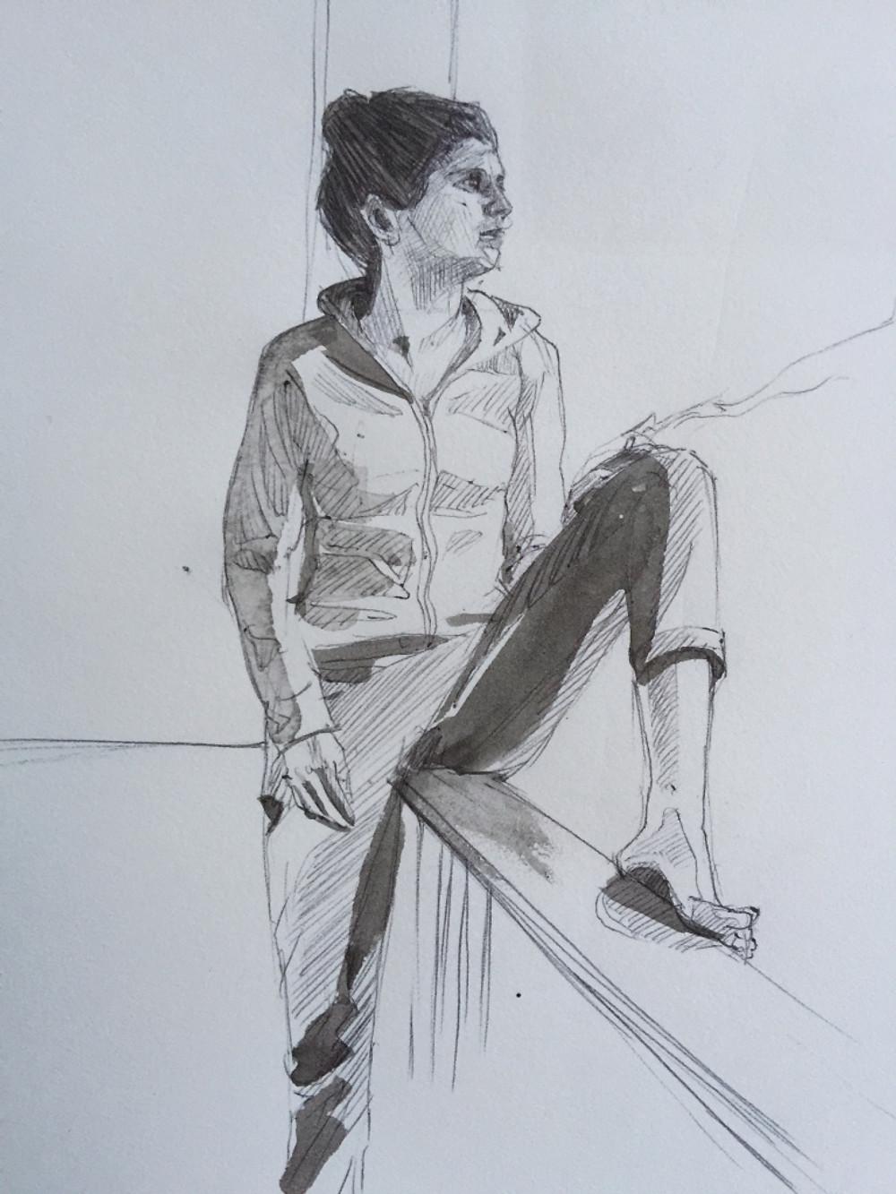 25/11/2015 : Angèle - encre de chine et stylo 15 x 15 cm