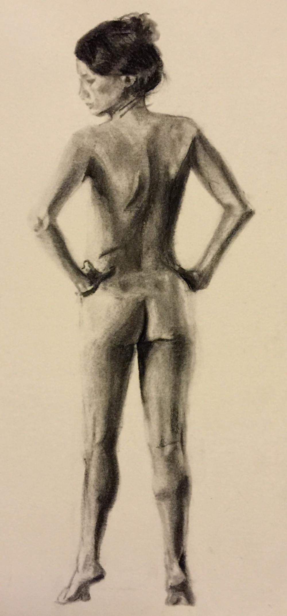 26/09/2015 : femme de dos - 20 x 10 cm Charcoal
