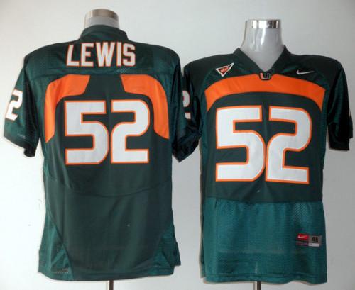 Miami Hurricanes Ray Lewis 52 Green NCAA Replica Football Jersey.jpg