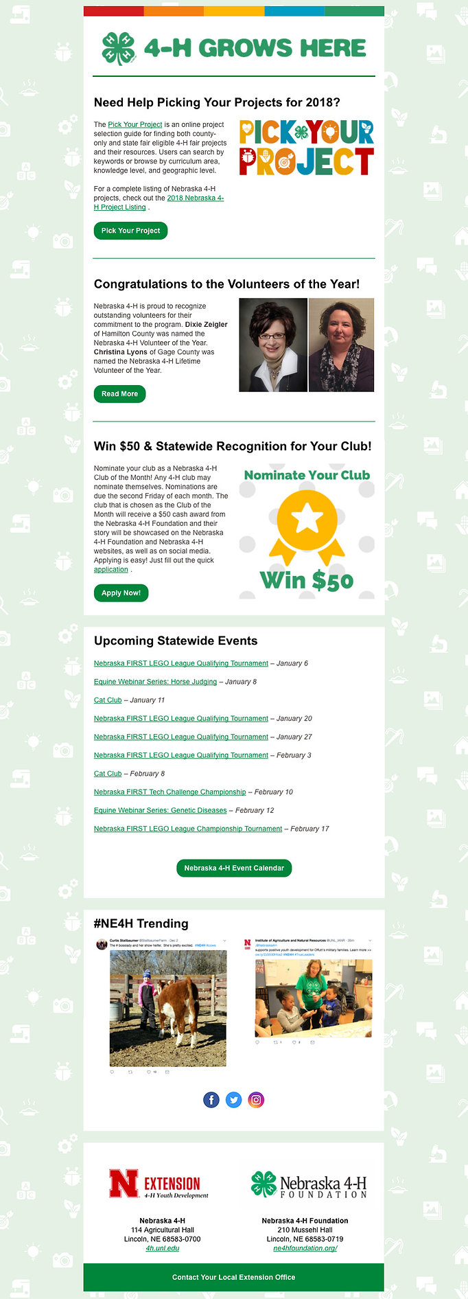 Nebraska 4-H email newsletter templat