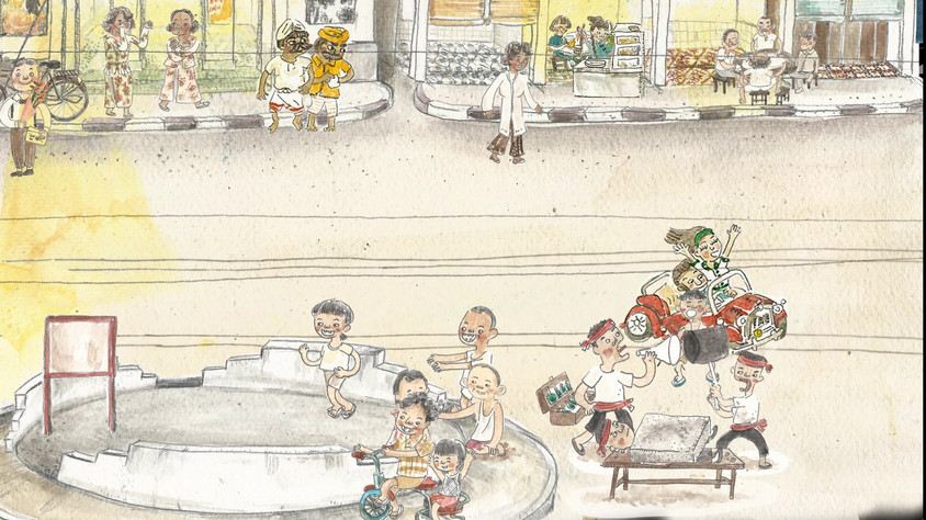 """Animation from a short documentary """"Purge: Documenting the Labours of Penang's Night Soil Workers""""  The story of how a group of dedicated and hardworking labourers contributed to the building of a city sewage system for nearly half a century. This is a part of history that people failed to speak about in the past, and had intended to forget in the present.  Media : Watercolor, art line pen , PITT artist pen, 3B pencil, Adobe Photoshop"""
