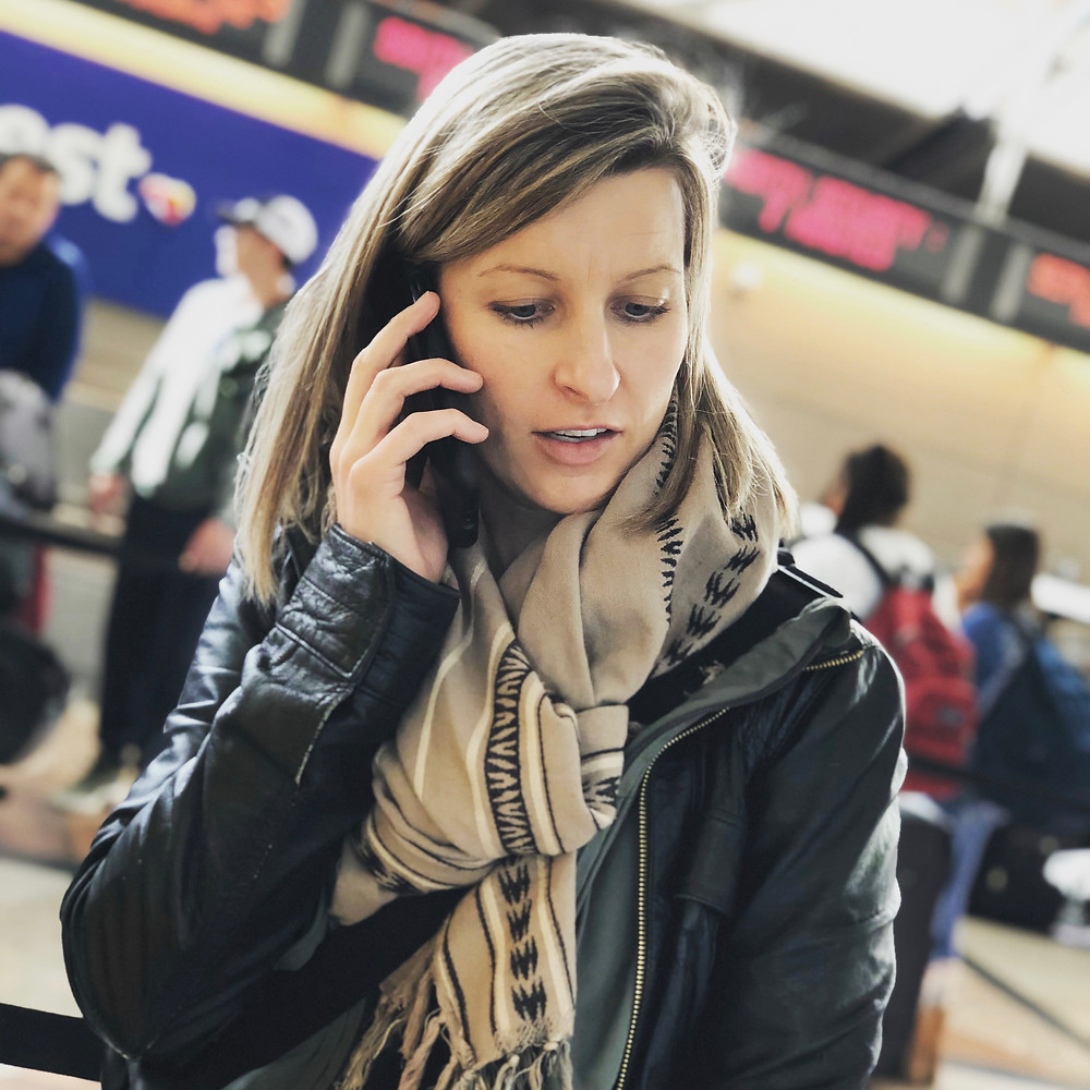 female traveller, airport