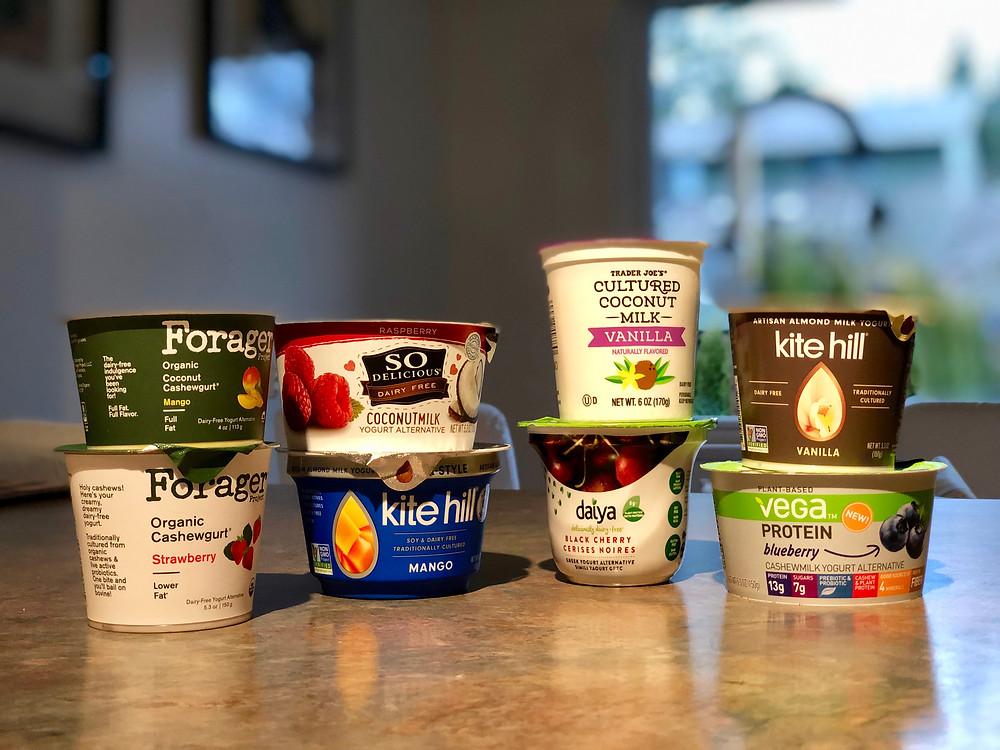 Dairy-free yogurts Forager, Kite Hill, So Delicious, Vega, Trader Joes