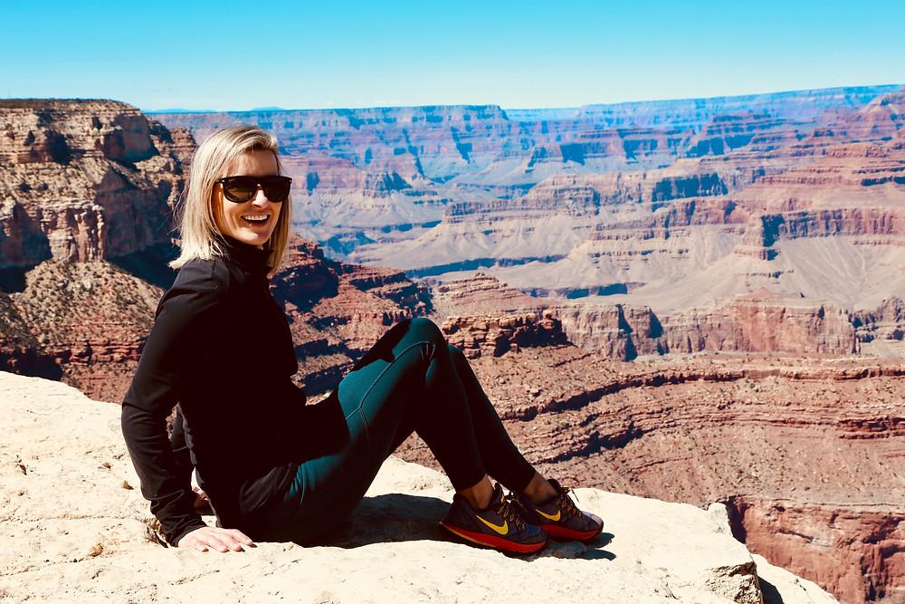 grand canyon, Arizona, travel, spring break, road trip, travel, national wonder, beauty, girl, edge, sitting
