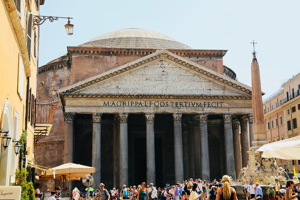 Summers day outside the front of the Pantheon in Rome