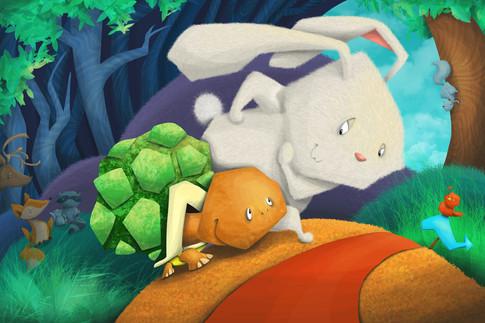 """Tortoise and Hare Run A Race,"" Children's Book Spread"