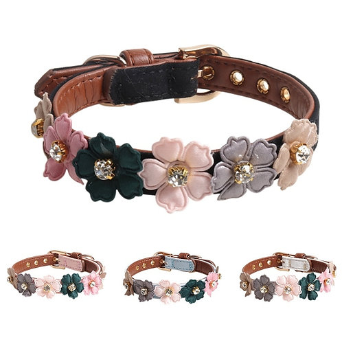 Dog Leather Flower Collar w/Diamonds for Small to Medium Dogs