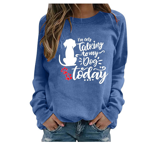 Vintage Women Casual Long Sleeve Dog T-Shirty