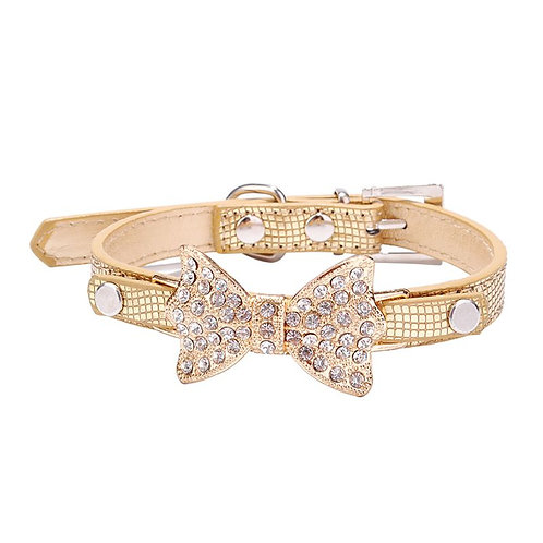 Bling Crystal Bow Leather Puppy Collar