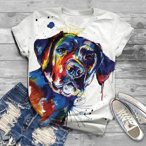 Harajuku Woman Short Sleeve Dog Printed Graphic T-Shirt