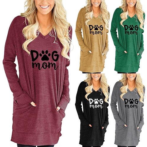 Loose Long Sleeve Dog Mom Printed V-Neck Split Pocket T-Shirt