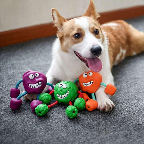 Silly Dude Rubber Ball Tug Toy
