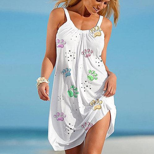 Women's Summer Short Beach Dress w/Cute Dog Paws