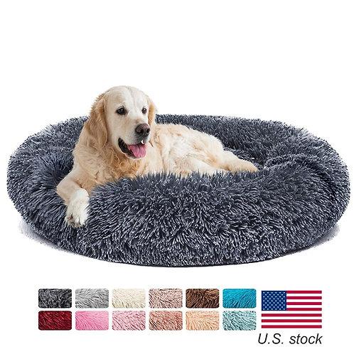 Donut Dog Bed Warm Soft Long Plush Cushion