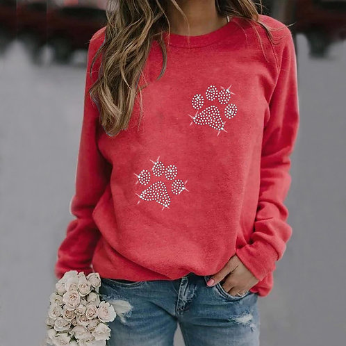 Womens Casual Long Sleeve Dog Paw Printing O-Neck Top