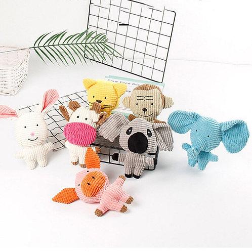Corduroy Dog Toy - Plush Pet Puppy Squeaky Chew