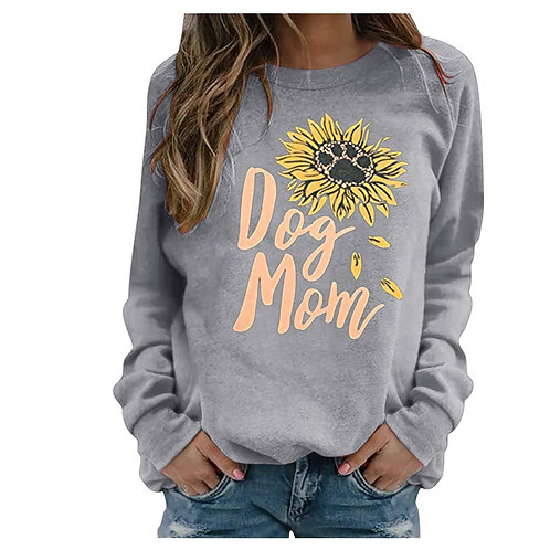 """Casual Long Sleeve """"Dog Mom"""" with Flower Print"""