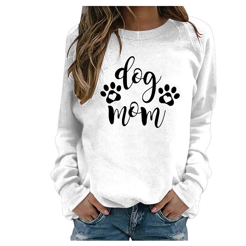 """Casual Long Sleeve """"Dog Mom"""" Pullover"""