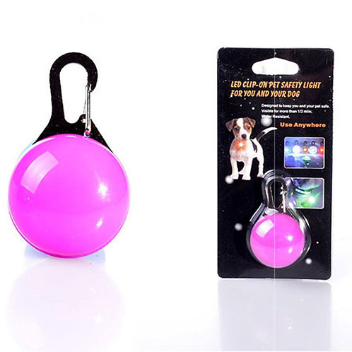 Glowing Dog Round Pendant - Flashing Led Safety Collar