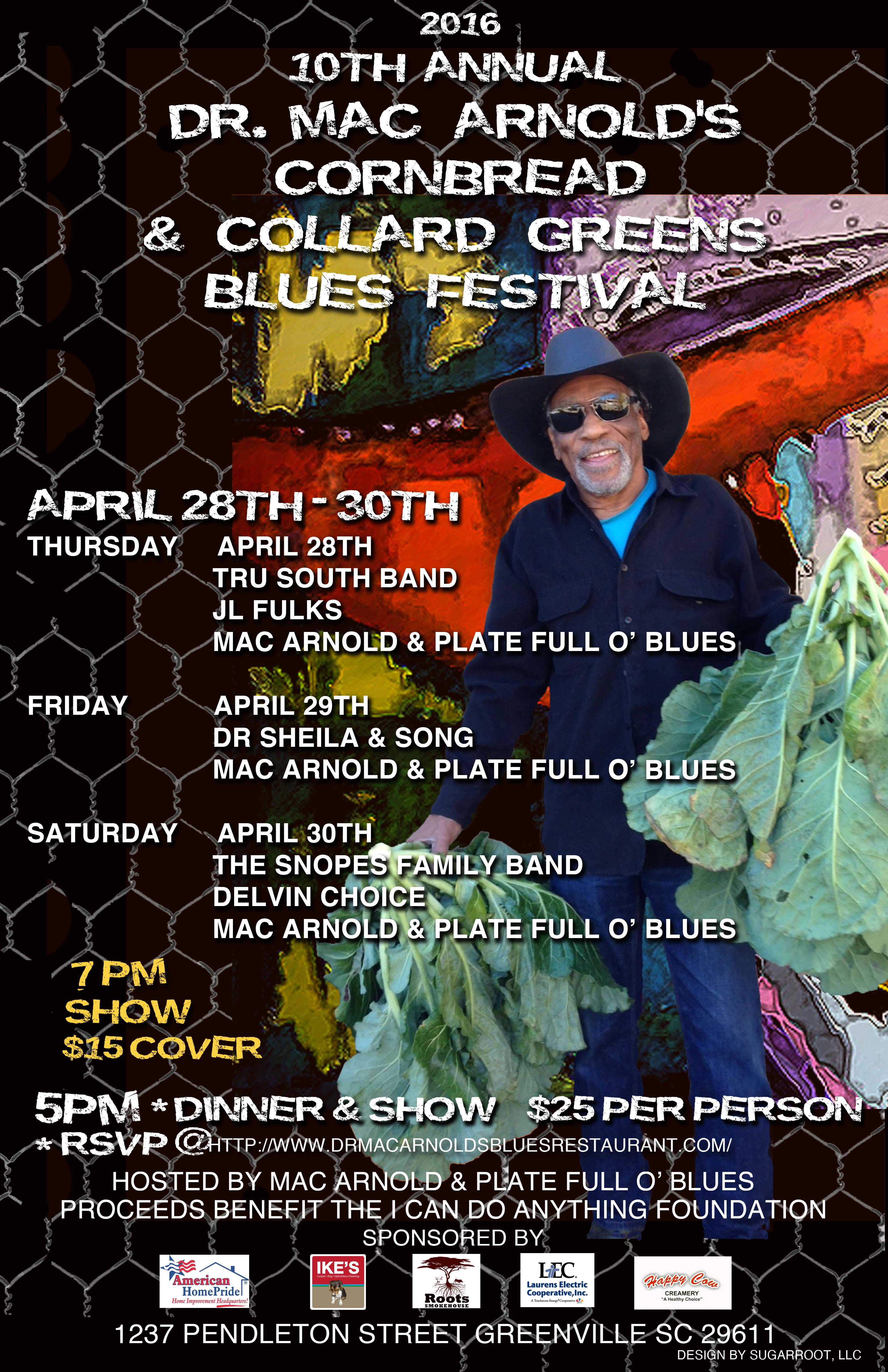 April 2016 - 10th Annual Cornbread & Collard Greens Blues Festival