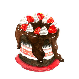 Wild boar Meat, Chocolate, and Strawberry Cake