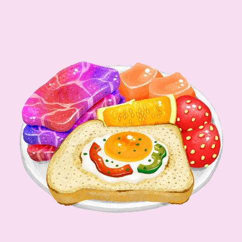 Breakfast Plate of Egg Basket, Unicorn Meat, and Fruits