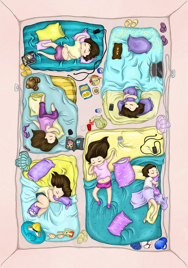 April Fronda Dream Camp sleepover digital artwork