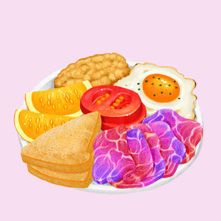 Breakfast Plate of Hashbrown, Toast, Unicorn Meat, and Fruits
