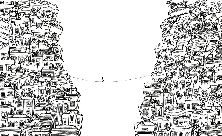 crossing worlds lineart buildings April Fronda