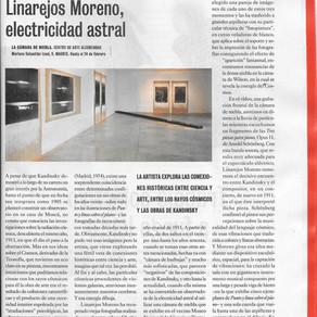 Linarejos Moreno, electricidad astral [E.Voz Mediano. El Cultural. El Mundo. 26 de Enero del 2018]