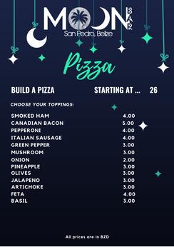 Build your Own Pizza Menu Moon Bar Belize