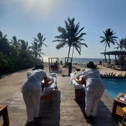 Massages by the pool at Mangata Villas