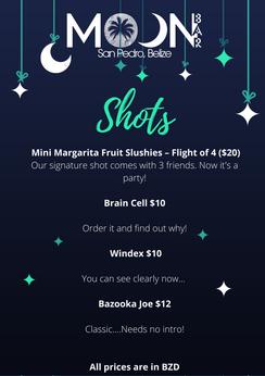 Shots Menu Moon Bar Belize