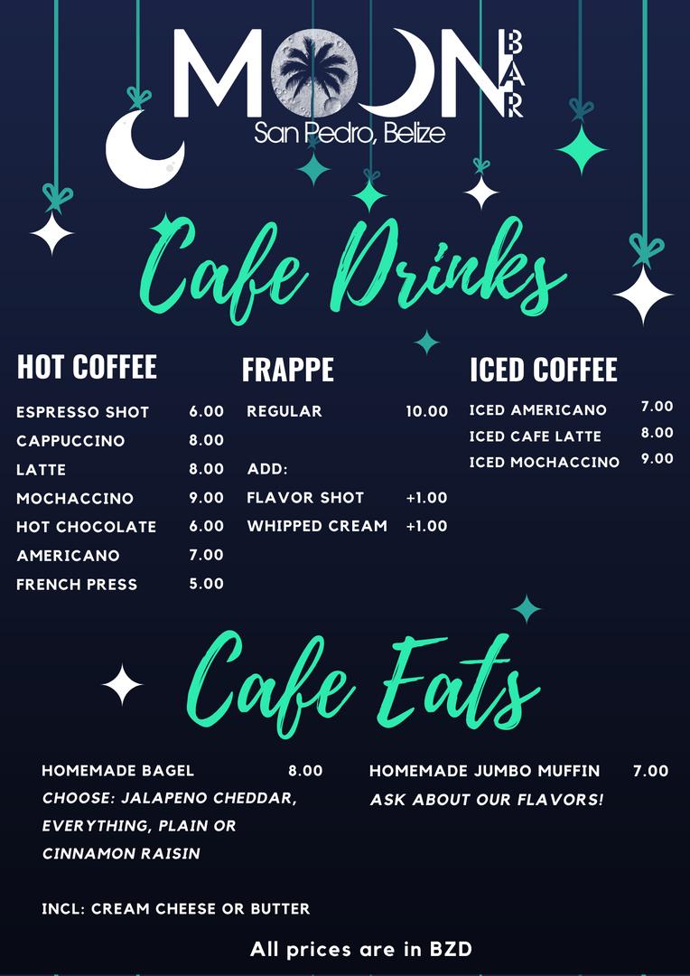Breakfast Cafe Menu - Moon Bar
