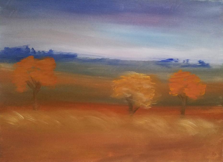 Blue Landscape Orange Trees