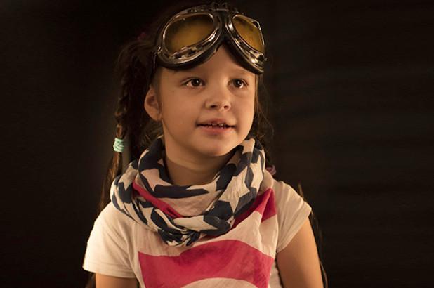 Little Girl With American Flag Bandana Around Her Neck