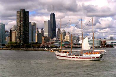 Sailboat in the Chicago Harbor