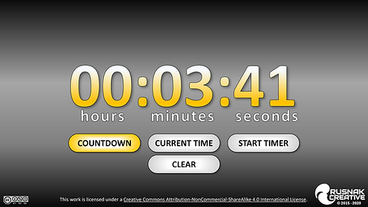 Timer does it all! It can start a timer counting up from 0, or count down from any number of minutes you specify. It can also show you the current time in 24hr format based off your computer's time. Be sure to stop the timer while in slideshow, as it will keep counting and updating when you exit if you don't!