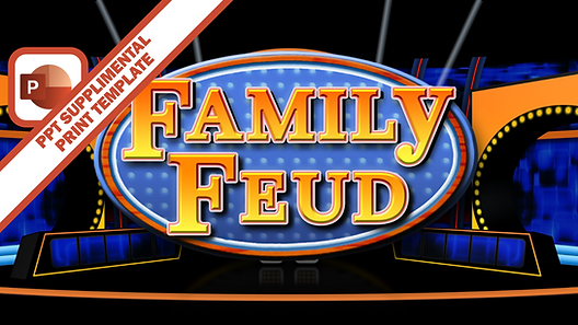 This PowerPoint file is designed to work with the Family Feud PowerPoint game template. Fill in your content in the text boxes provided, save, and print out. Cut along the dotted lines to separate the question card from the answers. Give your host the question card, and the PowerPoint operator the answers card. This printable will allow for a smooth Fast Money round for Family Feud.