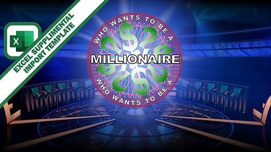 This excel file is designed to work with the Who Wants to Be A Millionaire PowerPoint game template. Fill in your content in the cells provided, save, and close. Then, open the PowerPoint game and use the Import button while in slideshow mode. When you select the excel file with your content, it will automatically distribute all your questions and answers to the proper spots within the PowerPoint game template.