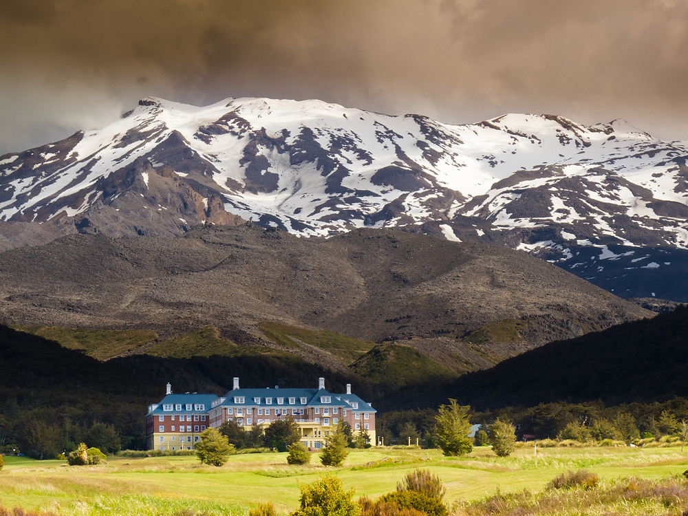 Whakapapa Village at the base of volcano Mount Ruapehu in Tongariro National Park North Island of New Zealand