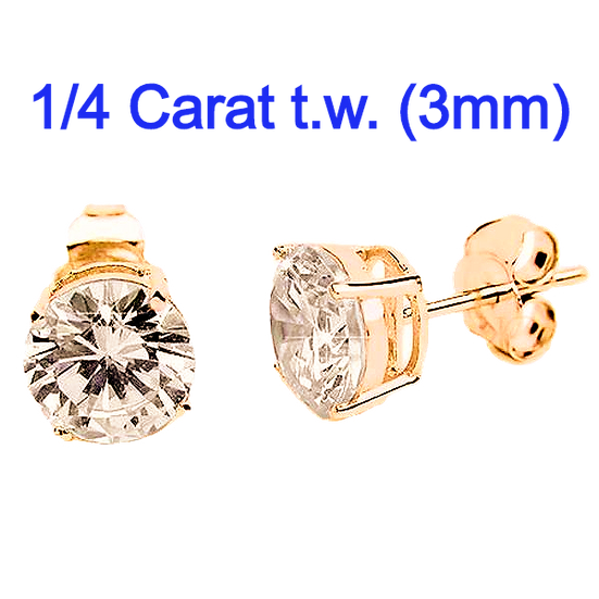 Sterling Silver Round 3mm CZ Simulated Diamond Stud Earrings.