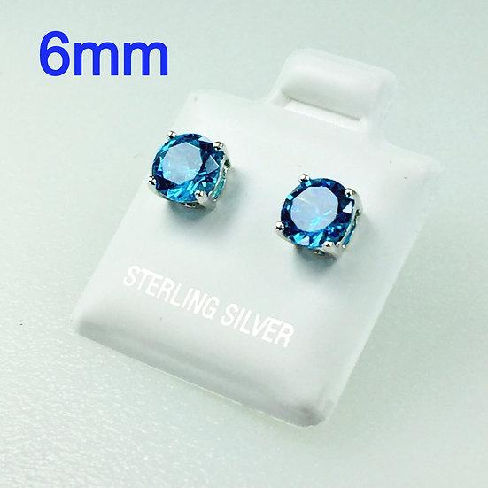 1.5 Carat t.w. 6mm Round Blue Topaz CZ Stud Earrings