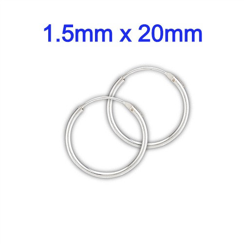 Sterling Silver 1.5mm x 20mm Continuous Hoop Earrings