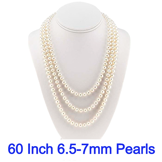 """White Freshwater Semi-Round Pearl 60"""" Continuous Necklace"""