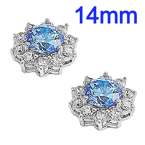Sterling Silver Blue Topaz Flower Shaped CZ Halo Earrings