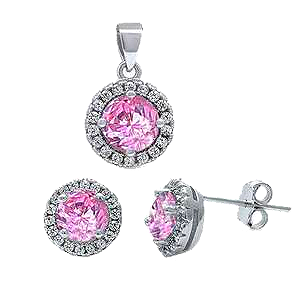Sterling Silver Halo with Pink Cz And White Cz Earring And Pendant Set