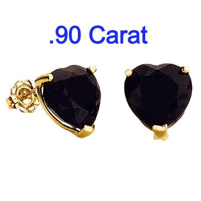 .90 Carat Black Sapphire Heart set in 10k Gold