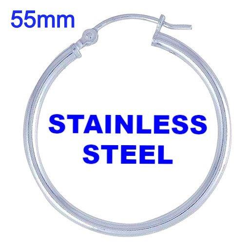 Stainless Steel 2mm x 55mm Hoop Earrings